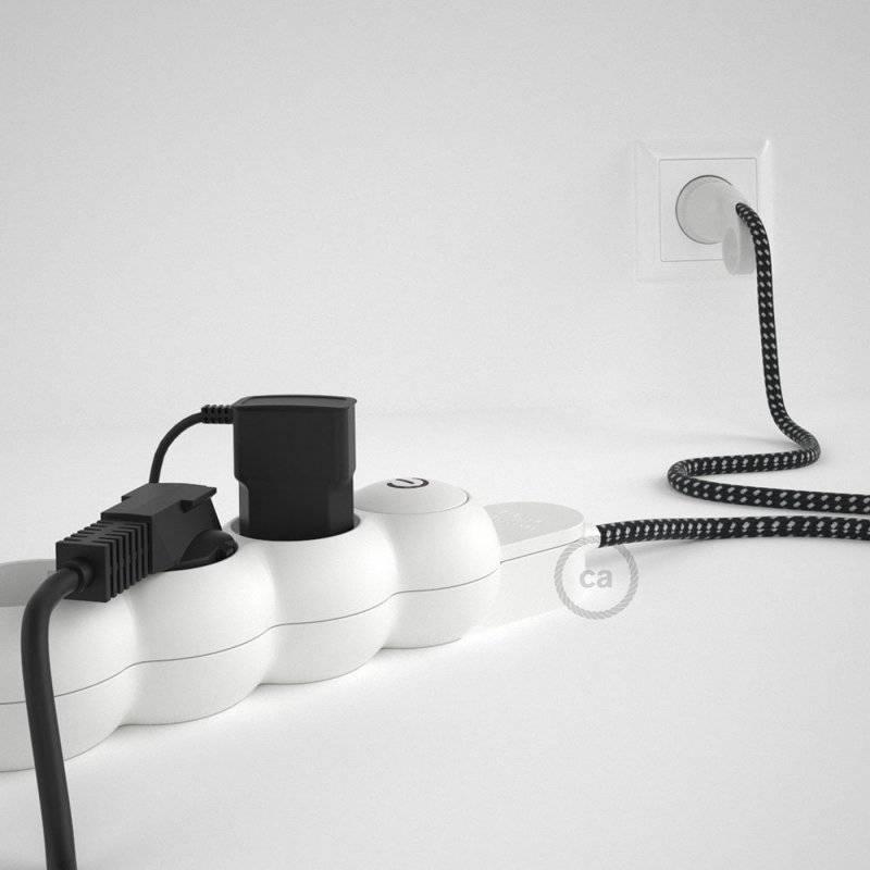 Bloc multiprise avec câble en tissu de couleur effet soie 3D en relief Étoiles RT41 et fiche schuko avec anneau confort