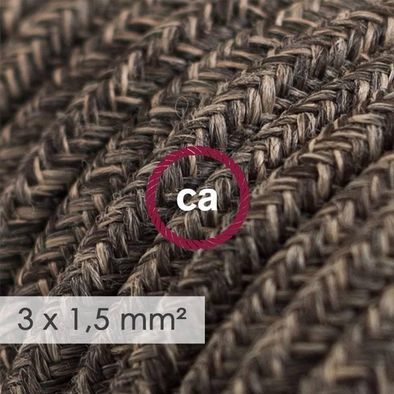 Bloc multiprise avec câble en Lin Naturel Marron RN04 et fiche schuko avec anneau confort
