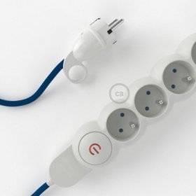 Bloc multiprise avec câble en tissu Effet Soie Bleu RM12 et fiche schuko avec anneau confort