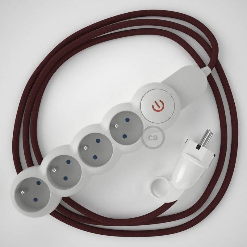 Bloc multiprise avec câble en tissu Effet Soie Bordeaux RM19 et fiche schuko avec anneau confort
