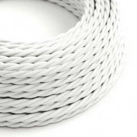 Fil Électrique Torsadé Gaine De Tissu De Couleur Effet Soie Tissu Uni Blanc TM01