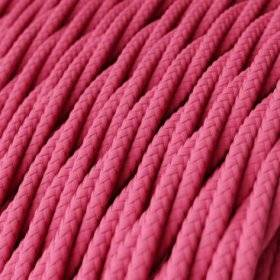 Fil Électrique Torsadé Gaine De Tissu De Couleur Effet Soie Tissu Uni Fuchsia TM08