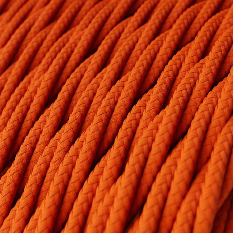 Fil Électrique Torsadé Gaine De Tissu De Couleur Effet Soie Tissu Uni Orange TM15
