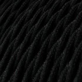 Fil Électrique Torsadé Gaine De Coton De Couleur Tissu Uni Noir TC04