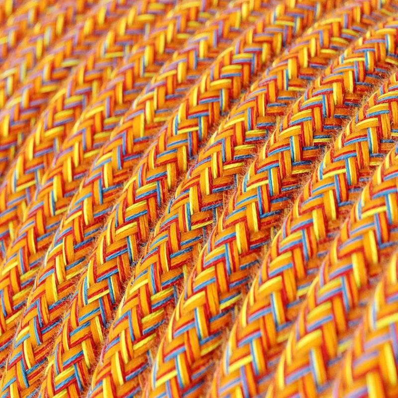 Fil Électrique Rond Gaine De Tissu De Couleur Coton Indian Summer RX07