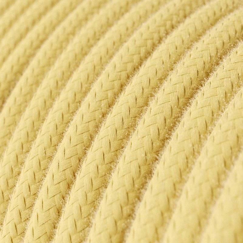 Fil Électrique Rond Gaine De Tissu De Couleur Coton Jaune Pastel RC10