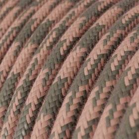 Fil Électrique Rond Gaine De Tissu De Couleur Coton - Bicolore Vieux Rose et Gris RP26