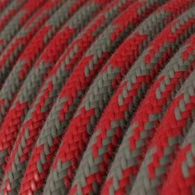 Fil Électrique Rond Gaine De Tissu De Couleur Coton - Bicolore Rouge Feu et Gris RP28