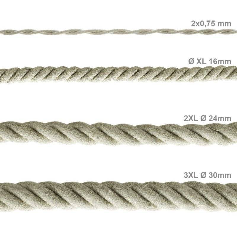 Corde 2XL, câble électrique 3x0,75. Revêtement en lin naturel. Diamètre 24mm.