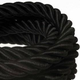 Corde 3XL, câble électrique 3x0,75. Revêtement en tissu noir brillant. Diamètre 30mm.