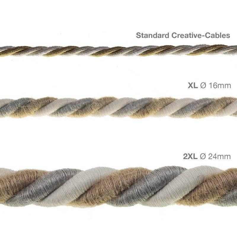 Corde 2XL, câble électrique 3x0,75. Revêtement en jute, coton et lin naturel Country. Diamètre 24mm.