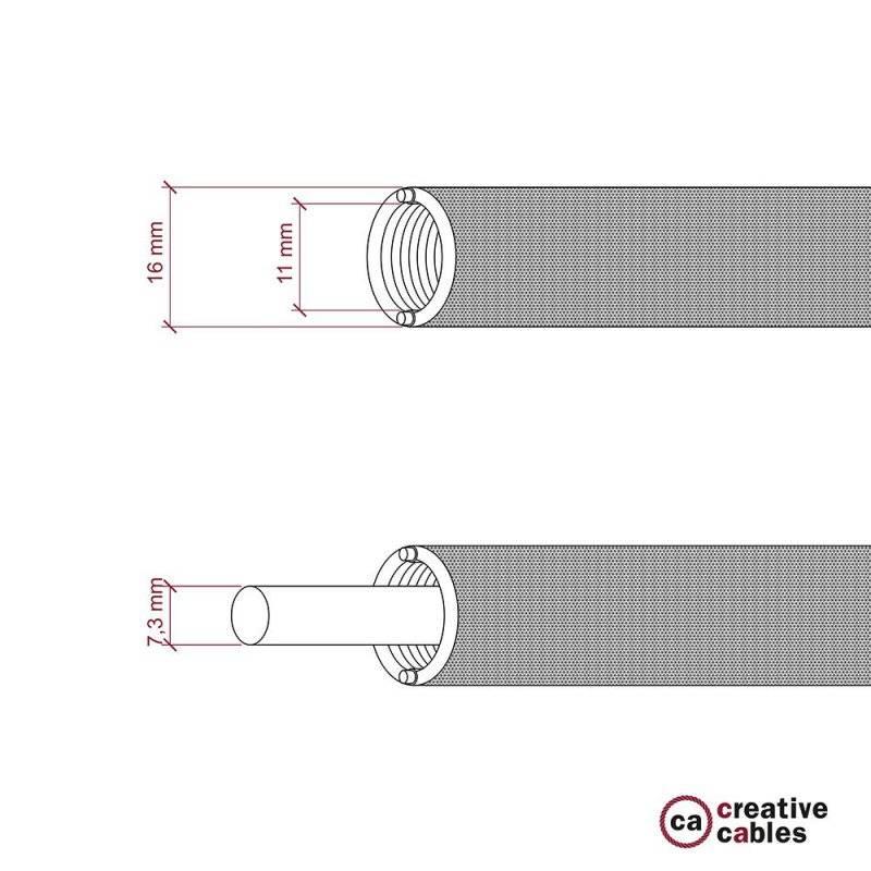 Creative-Tube, tube flexible avec revêtement tissu Effet Soie Noir RM04, diamètre 16 mm