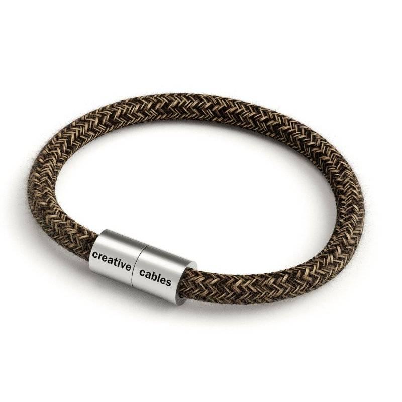 Bracelet avec fermoir magnétique argent mat et câble RN04 (Lin Naturel Marron)