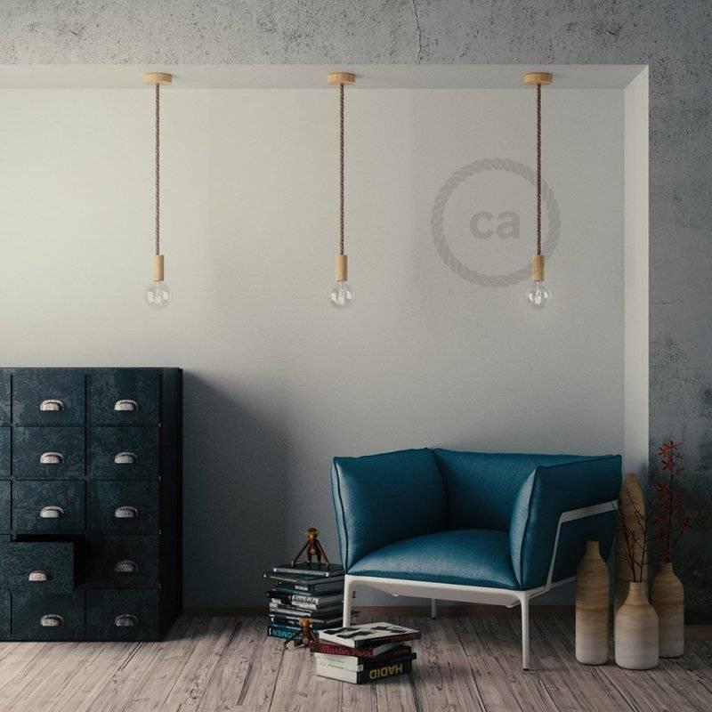 Kit douille E27 en bois pour corde XL