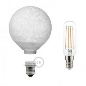 Ampoule Modulaire Décorative LED G125 Blanche à Lignes Verticales 4,5W E27 Dimmable 2700K.