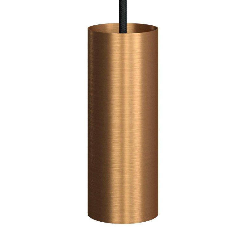 Suspension fabriquée en Italie avec câble textile, abat-jour Tub-E14 et finition en métal