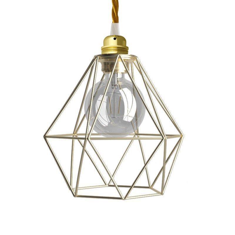 Suspension fabriquée en Italie avec câble textile, abat-jour cage Diamond et finition en métal