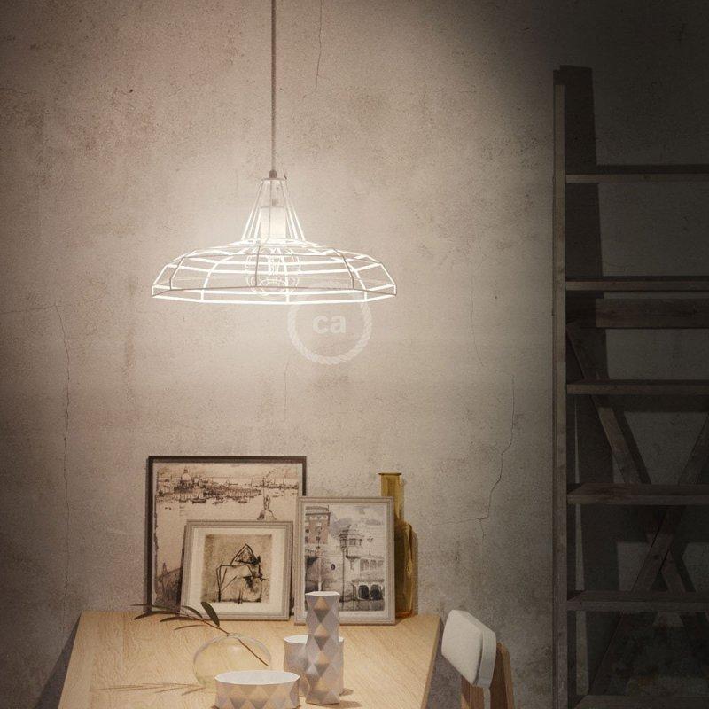 Suspension fabriquée en Italie avec câble textile, abat-jour Sonar et finition en métal