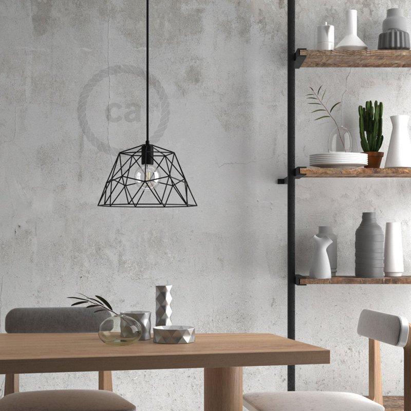Suspension fabriquée en Italie avec câble textile, abat-jour Dome et finition en métal