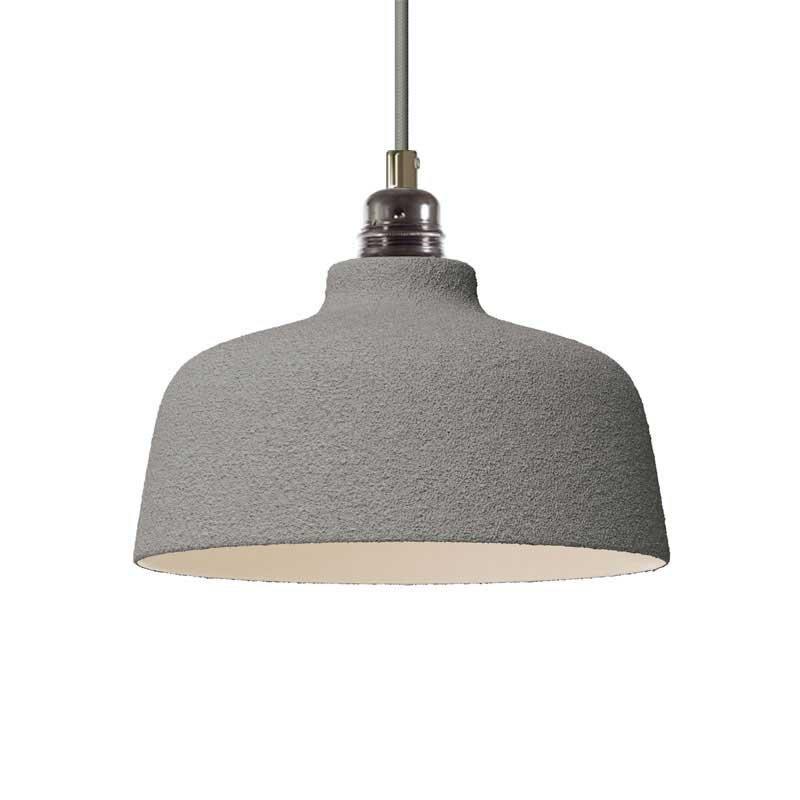 Suspension fabriquée en Italie avec câble textile, abat-jour Coupe en céramique et finition en métal