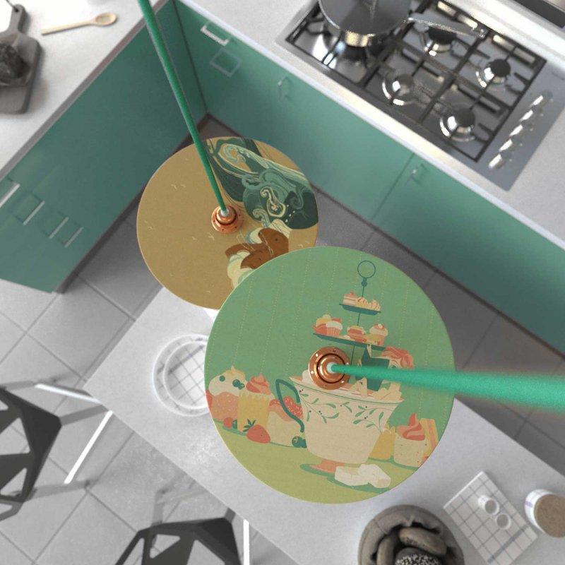 Suspension fabriquée en Italie avec câble textile, abat-jour UFO en bois double face et finition en métal