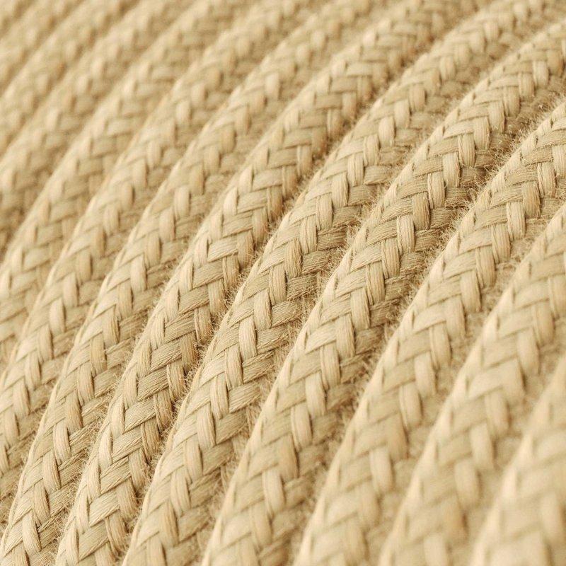 Suspension fabriquée en Italie avec câble textile, abat-jour Cylindre et finition en métal