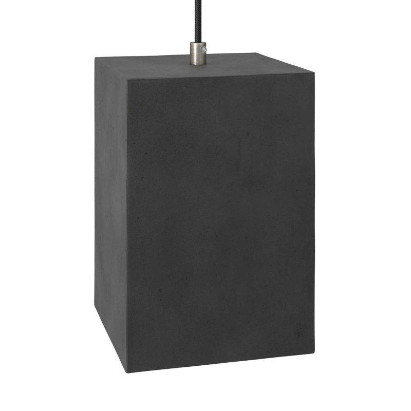 Suspension fabriquée en Italie avec câble textile, abat-jour Cube en ciment et finition en métal