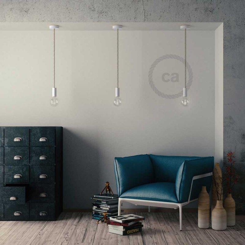 Sospension fabriquée en Italie avec corde XL 16 mm finition bois peint