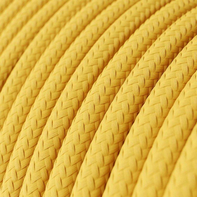 Suspension fabriquée en Italie avec cable textile et finition porcelaine coloré