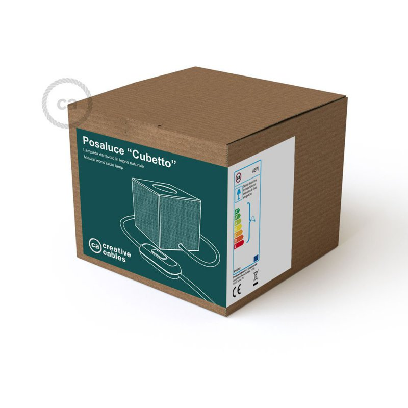 Posaluce Cubetto, lampe de table en bois fournie avec câble textile, interrupteur et prise bipolaire