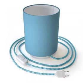 Lampe Posaluce en métal avec abat-jour Cilindro Bleu Ciel, fournie avec câble textile, interrupteur et prise bipolaire