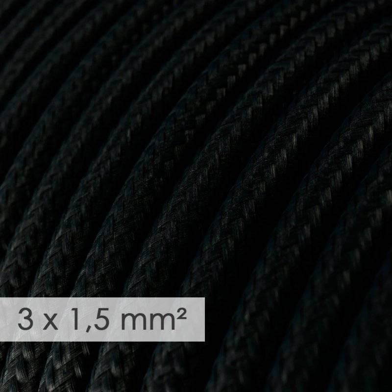 Fil Électrique De Large Section 3x1,50 Rond - Tissu Effet Soie Noir RM04