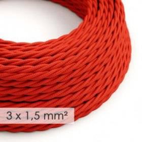 Fil Électrique De Large Section 3x1,50 Torsadé - Tissu Effet Soie Rouge TM09