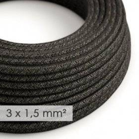 Fil Électrique De Large Section 3x1,50 Rond - Lin Naturel Anthracite RN03