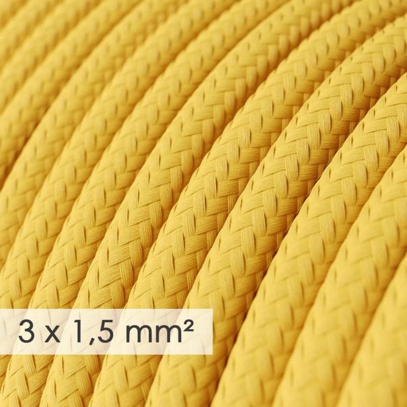 Fil Électrique De Large Section 3x1,50 Rond - Tissu Effet Soie Jaune RM10