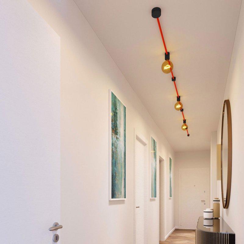 Kit Linear Filé system - avec câbles pour guirlande lumineuse de 5 mètres et 7 composants en bois verni noir pour intérieur