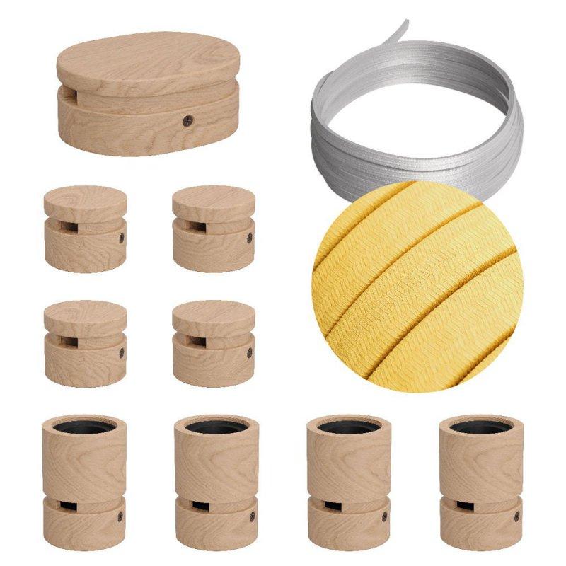 Kit Symmetric Filé system - avec câbles pour guirlande lumineuse de 5 mètres et 9 composants en bois pour intérieur