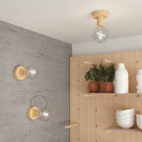 Fermaluce Wood S, la source lumineuse en bois murale ou au plafond