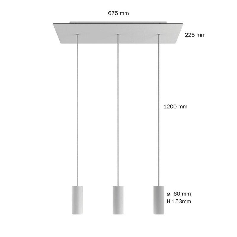 Suspension à 3 bras avec XXL Rose-One rectangulaire 675 mm complète avec câble textile et abat-jour en métal Tub-E14