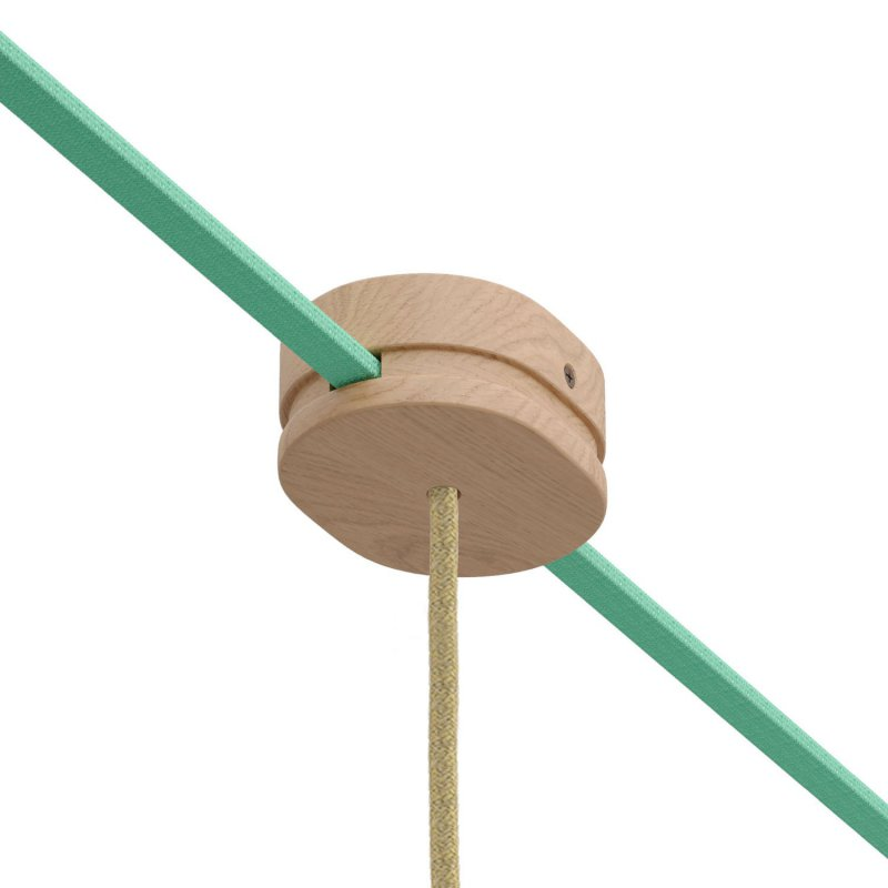 Rosace ovale en bois avec un trou central et 2 trous latéraux pour le câble plat de guirlande et le système Filé