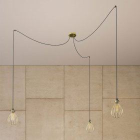 Spider - Lampe suspension multiple 2 bras Made in Italy avec câble textile et abat-jour Drop