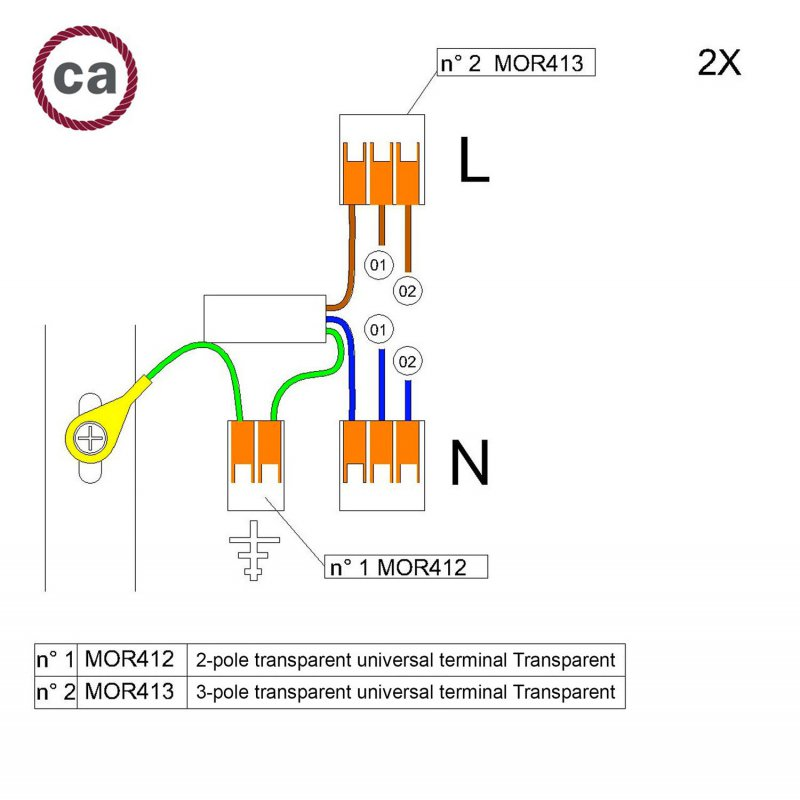 Kit de connexion WAGO compatible avec câble 2x pour Rosace à 2 trous
