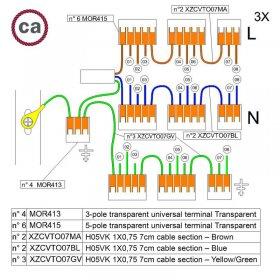Kit de connexion WAGO compatible avec câble 3x pour Rosace à 8 trous