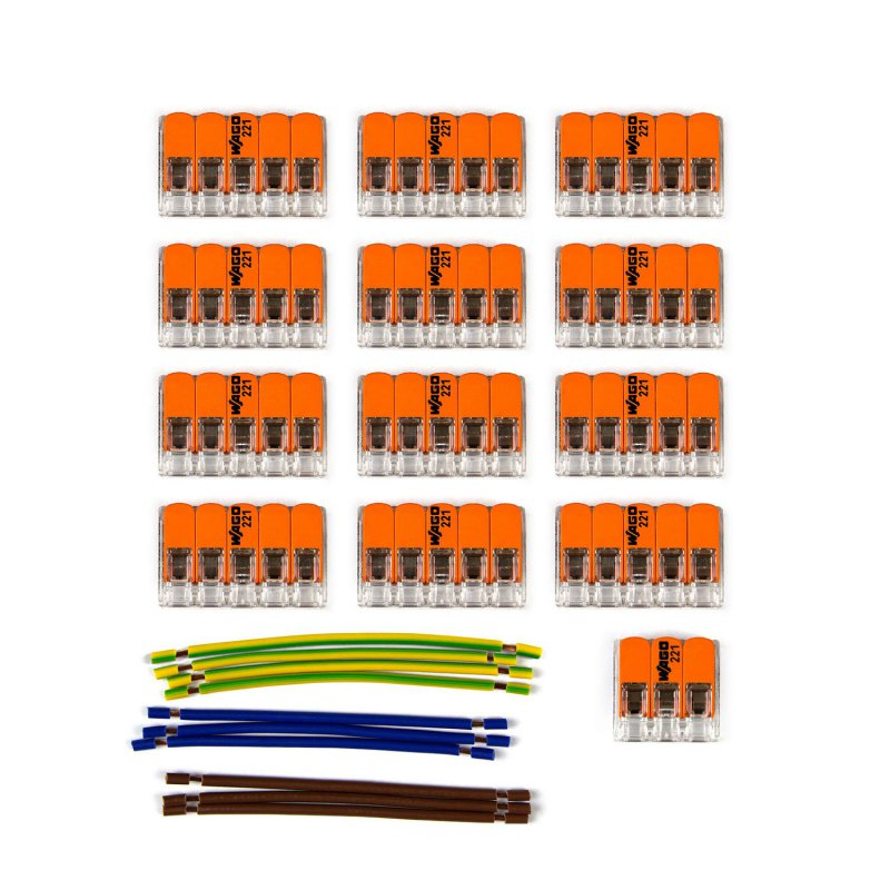 Kit de connexion WAGO compatible avec câble 3x pour Rosace à 13 trous