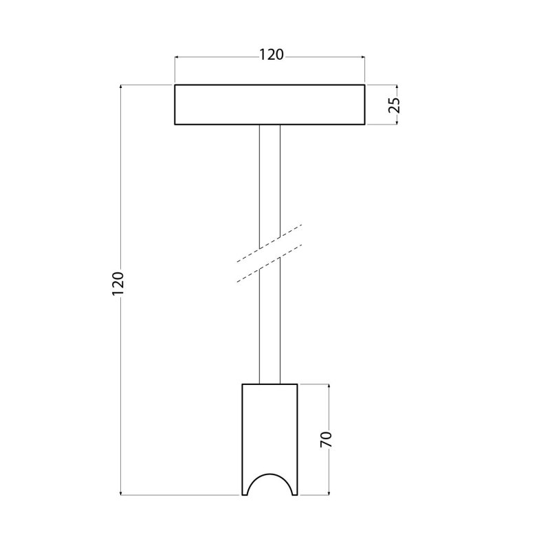 Plafonnier design avec douille Syntax S14d et tuyau d'extension métallique de 30 cm