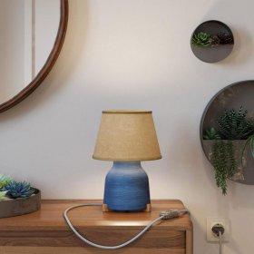 Lampe de table Vaso en céramique avec abat-jour Impero, câble textile, interrupteur et prise bipolaire