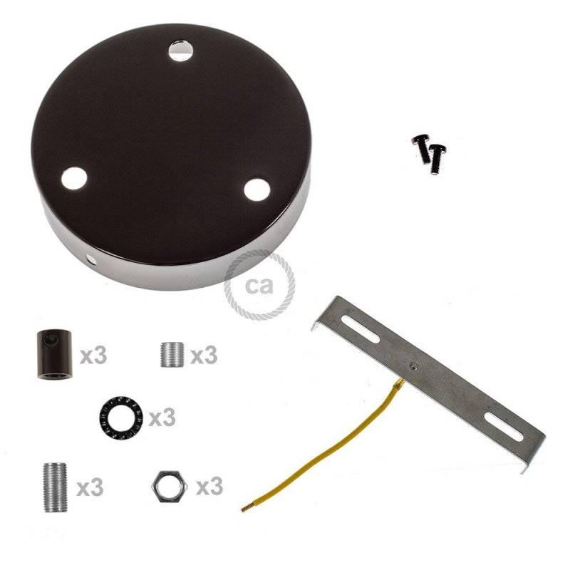 Kit rosace métallique cylindrique à 3 trous