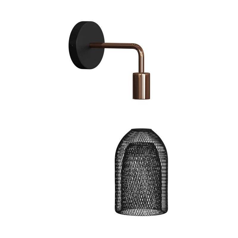 Fermaluce Metal, applique murale en métal avec abat-jour Ghostbell et extension curbe
