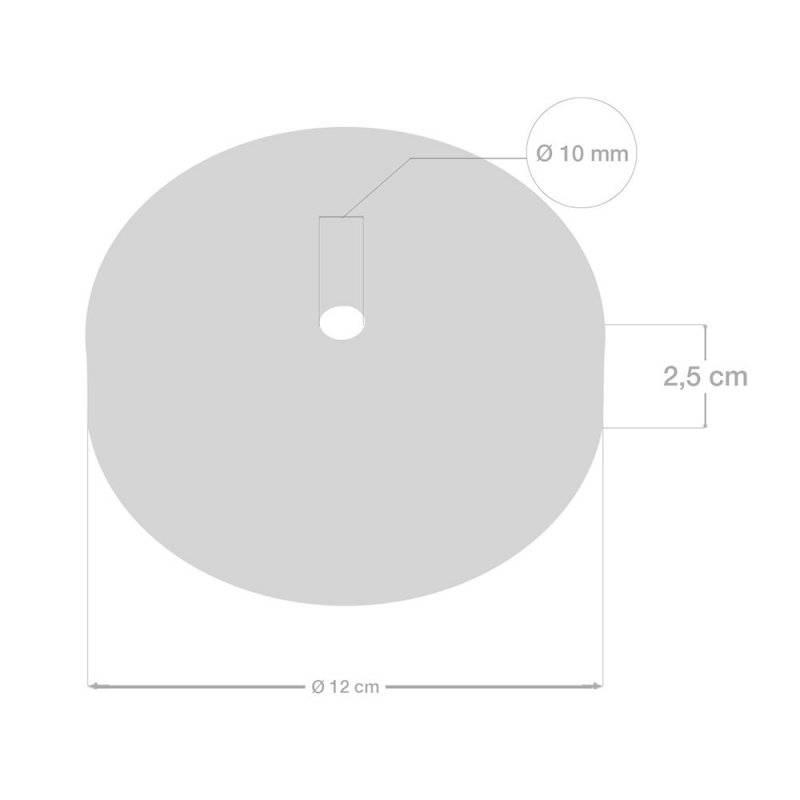 Kit rosace cylindrique en métal avec serre-câble de 7 cm