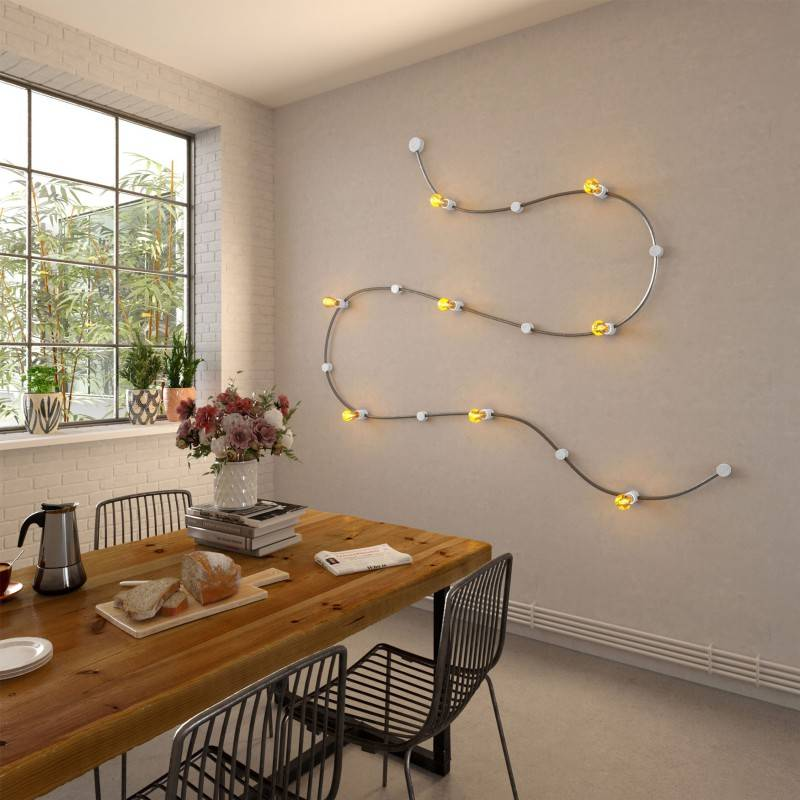 Fixation murale en bois pour câbles de guirlandes lumineuses et Filé system. Fabriqué en Italie
